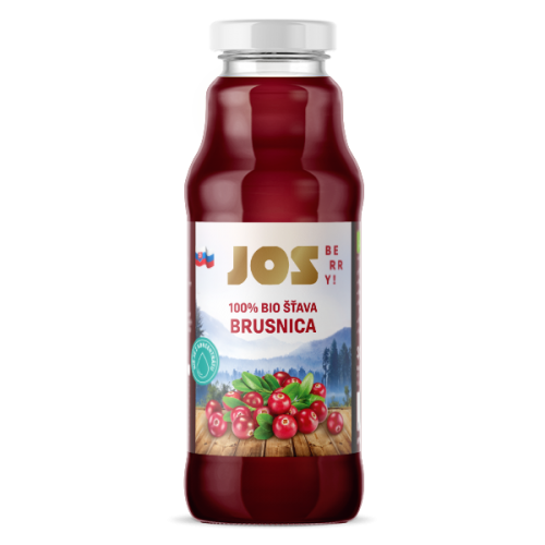 JOS Berry 100% BIO BRUSNICOVÁ ŠŤAVA, 300 ML
