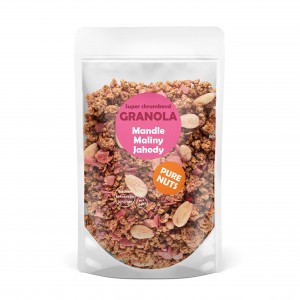 PURE NUTS granola - mandle, maliny, jahody, 350g