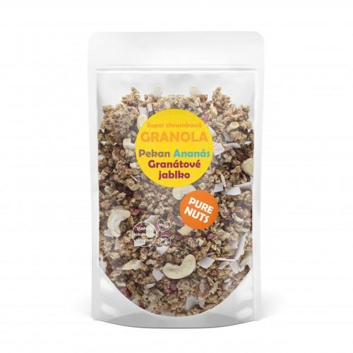 PURE NUTS granola - pekanový orech, granátové jablko, ananás 350g