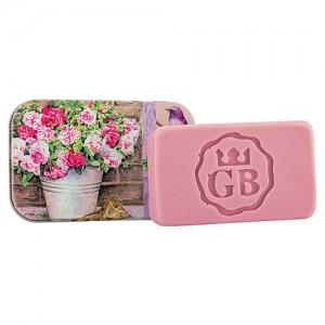 Toaletné mydlo v plechovej krabičke - ruža, 80g (BC190174)