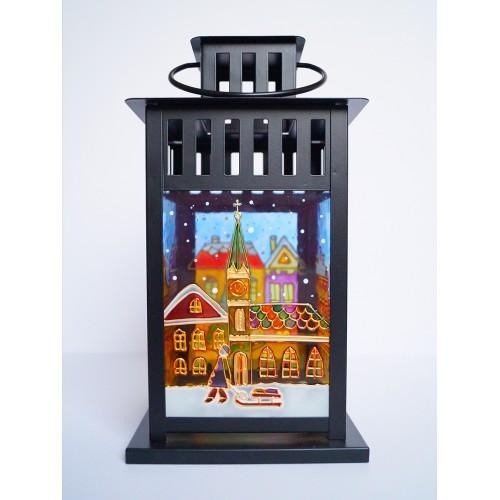 Maľovaný lampáš mestečko čierny
