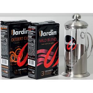 JARDIN 11/17 Gift Box Arabika mletá 2x250g & frenchpress 350 ml (5829)