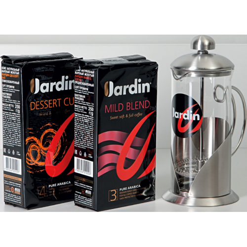 JARDIN 11/17 Gift Box Arabika mletá 2x250g & frenchpress 350 ml (5829)