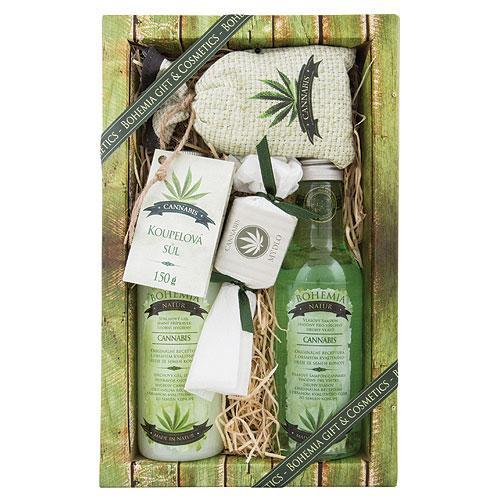 CANNABIS PREMIUM: sprchový gél (200ml), šampón (200ml), kúpeľová soľ (150g), mydlo (30g) - (02803)