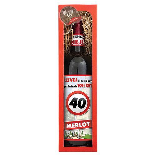 "Darčekové víno ""Všechno nej!"" k 40. narodeninám, 0,75l (124012)"