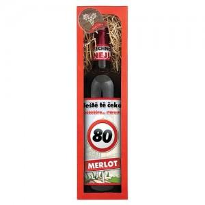 "Darčekové víno ""Všechno nej!"" k 80. narodeninám, 0,75l (124016)"