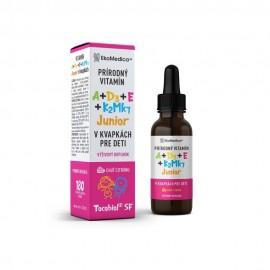 EKOMEDICA Vitamíny A+D3+E+K2Mk7 v kvapkách JUNIOR, citrón 30ml